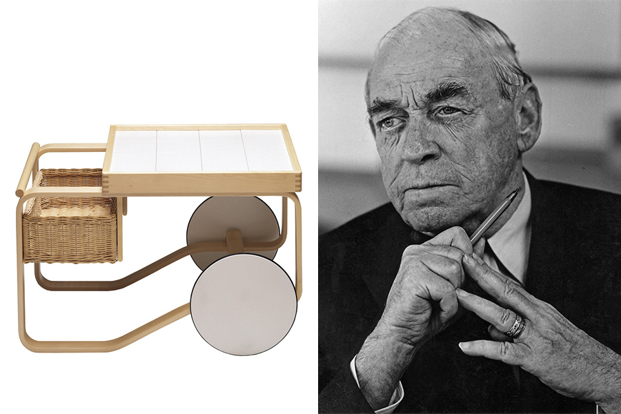 """Arquitecto y diseñador Alvar Aalto y carro """"Tea Trolley mod 900"""" para Artek (1935-37)."""