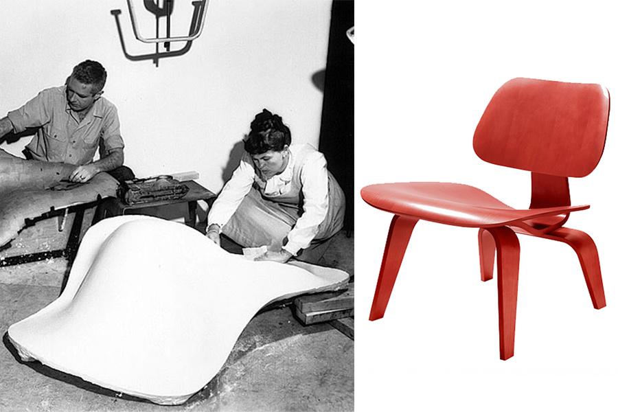 """Charles y Ray Eames moldeando su """"Chaise Lounge"""" chair, y a la derecha su silla """"LCW""""."""