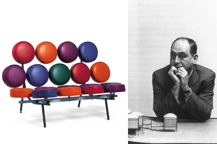 El diseñador George Nelson y el sofá Marshmallow (diseñado realmente por Irving Harper).
