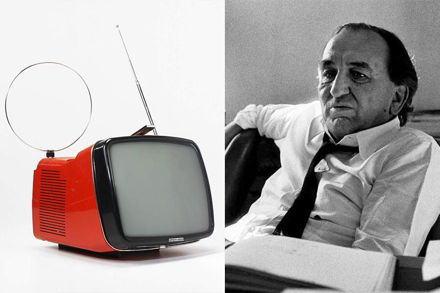 El diseñador y arquitecto Marco Zanuso, y su televisorDoney 14 del año 1962.