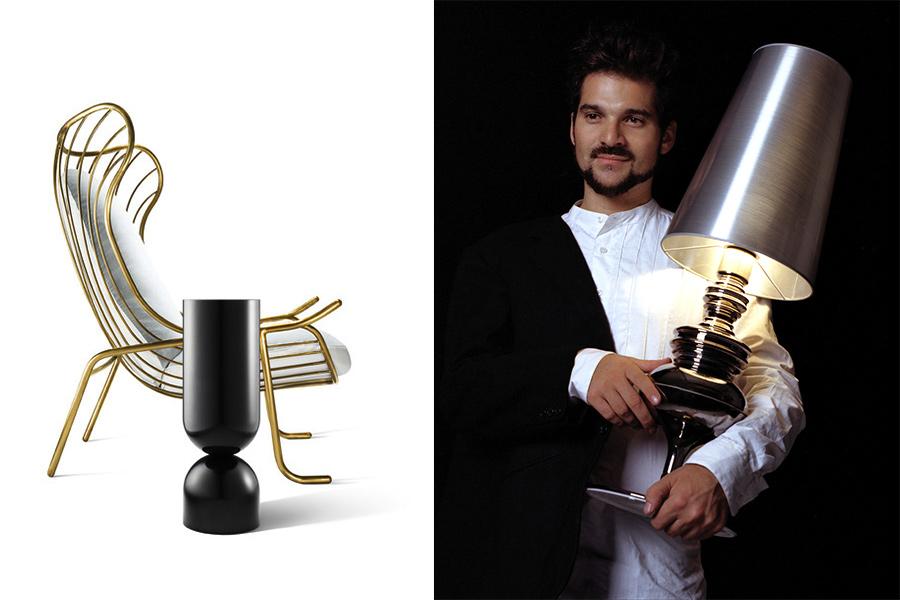 Diseñador Jaime Hayón con la lámpara Josephine para Metalarte, y asiento + mesita de SE Collection II.