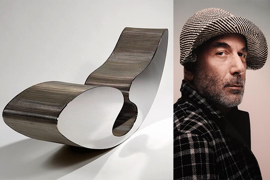 """Diseñador Ron Arad y asiento """"Blo Void""""."""