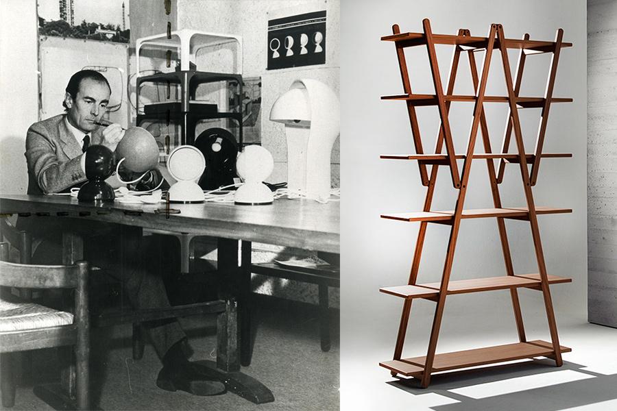 Vico Magistretti con su lámpara Eclisse (1965).