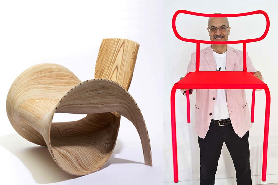 El diseñador William Sawaya y el sofá 4Olga (2013) y la silla Meteo-Out-Fluo (2011).