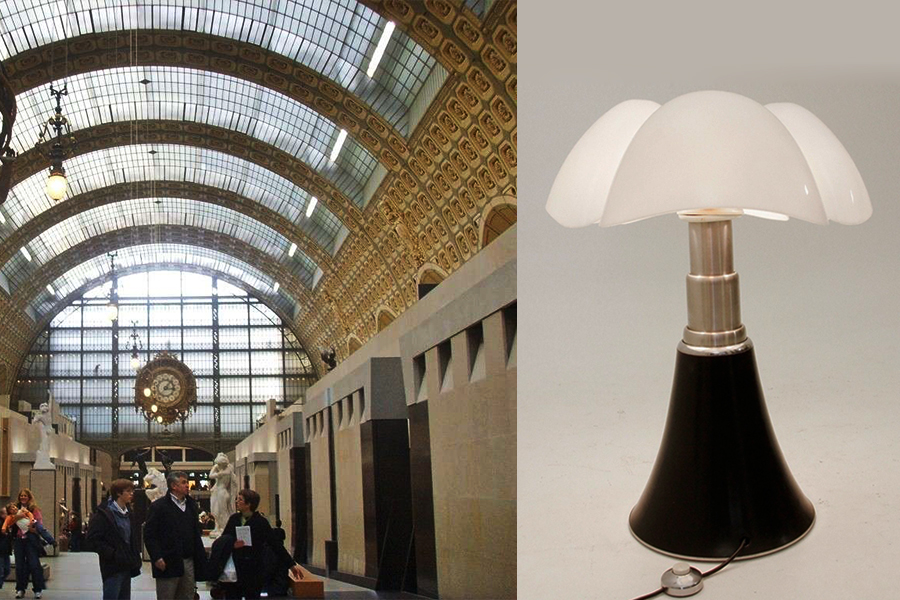 "Musée d'Orsay (1980-86) y lámpara ""Pipistrello"" (1965) para Martinelli Luce."