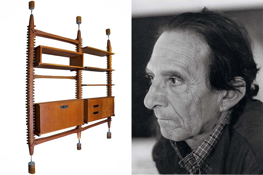 """Ico Parisi y el sistema de estanterías """"Lerici"""" (1958) de madera de teca y aluminio con elementos ajustables."""