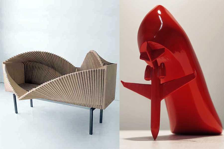 """""""Wave Cabinet"""" y ejemplo de la colección de zapatos de Sebastián Errázuriz para Melissa."""