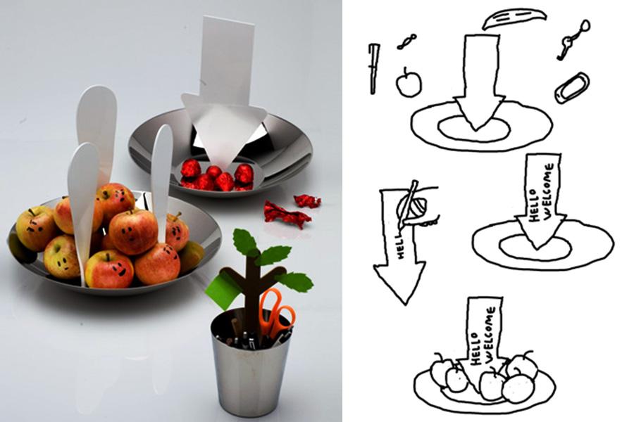 """""""Comunicador"""" (2010), de Martí Guixé, una serie de contenedores para la marca de diseño Alessi , que tienen flechas y bocadillos para que el usuario escriba mensajes."""