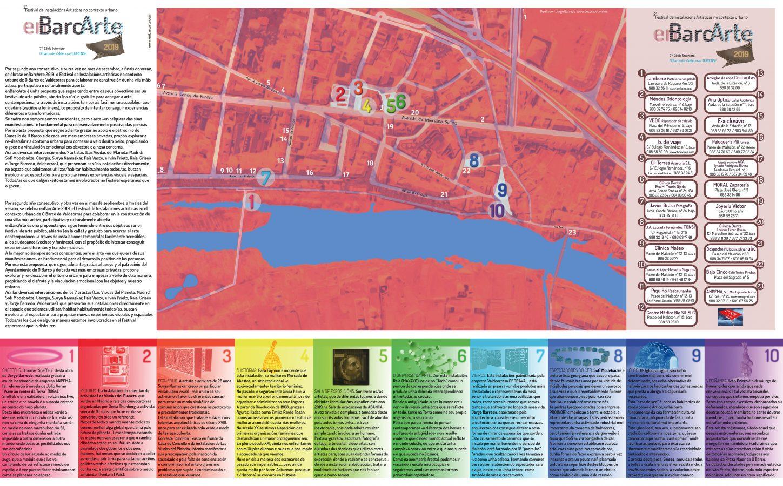 Folleto para enBarcArte 2019 con el mapa para situar las instalaciones