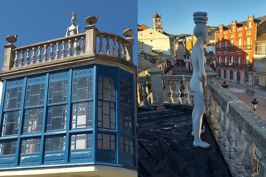 Veciñanza del artista barquense Iván Prieto ocupa toda la fachada de un edificio de la Plaza Mayor y la azotea de otro edificio enfrente de éste